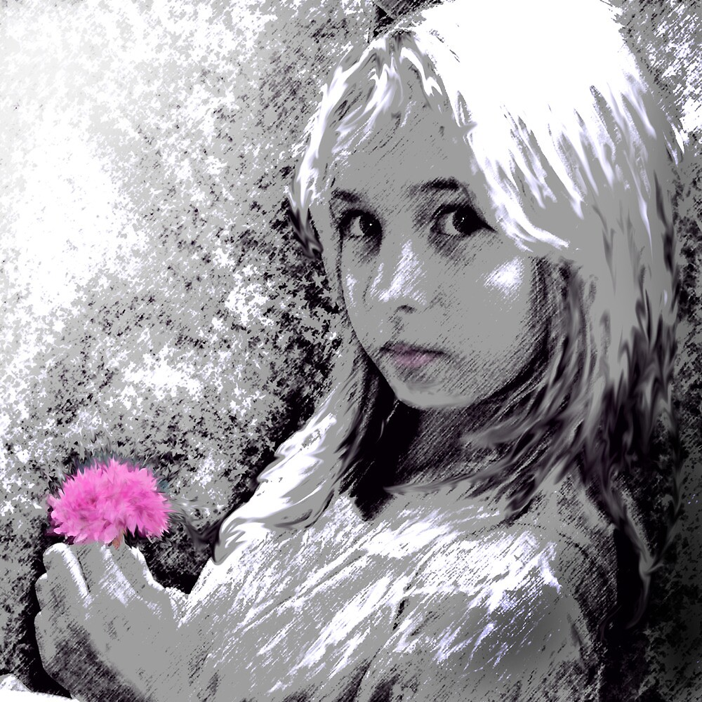 girl with pink flower by jashumbert