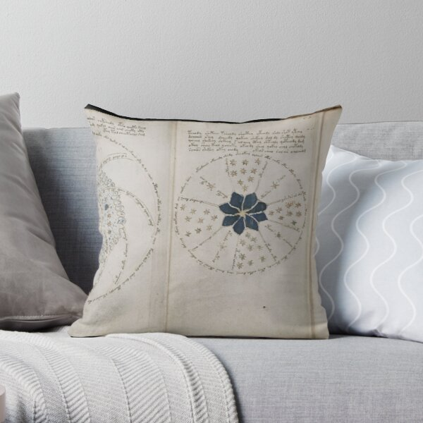 Voynich Manuscript. Illustrated codex hand-written in an unknown writing system Throw Pillow