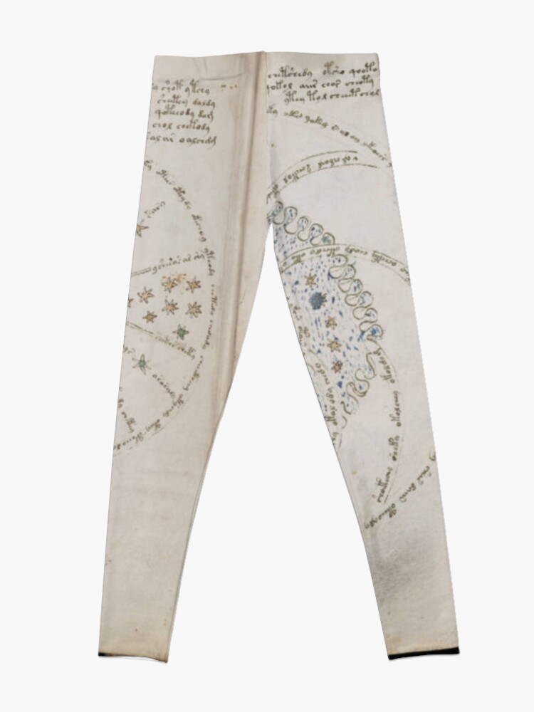 Alternate view of Voynich Manuscript. Illustrated codex hand-written in an unknown writing system Leggings