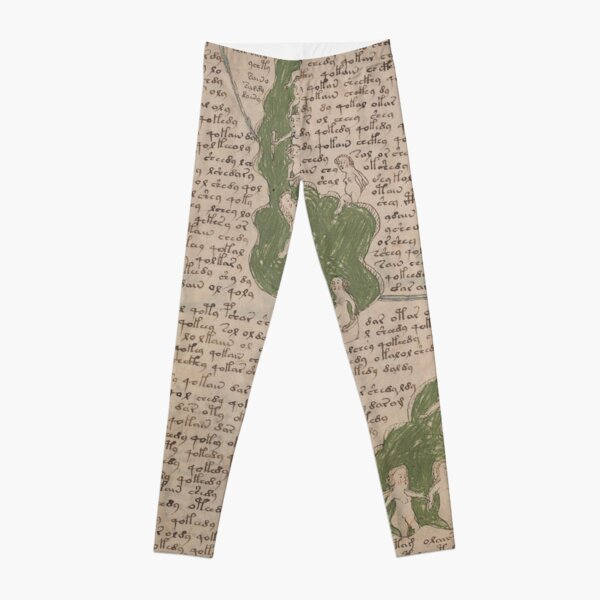 Voynich Manuscript. Illustrated codex hand-written in an unknown writing system Leggings