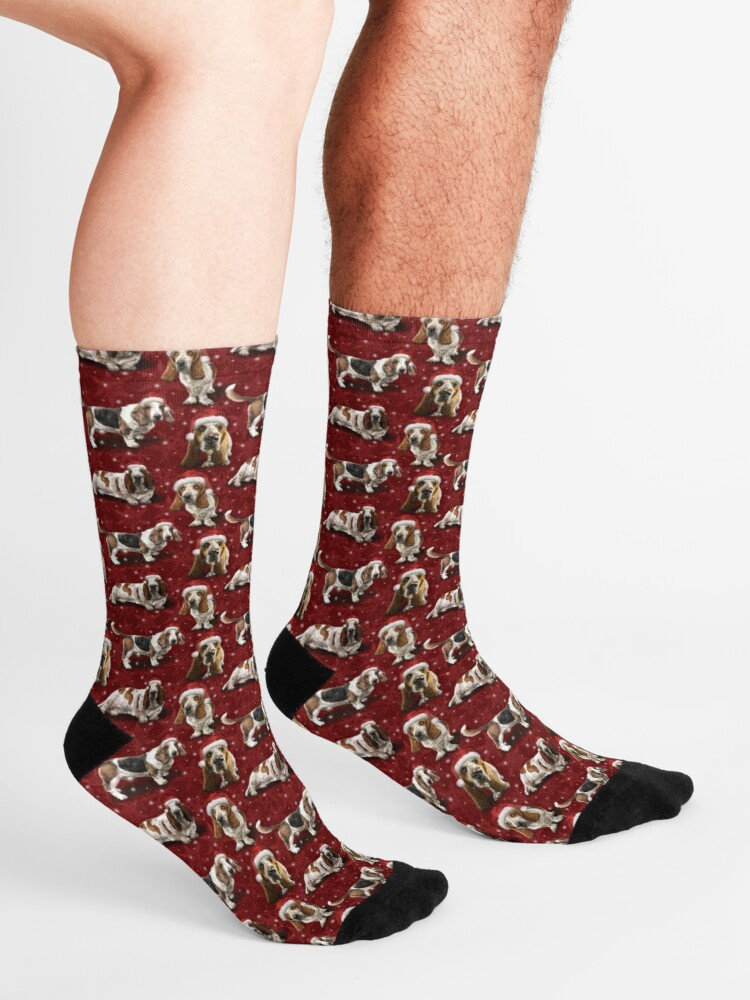 Alternate view of The Christmas Basset Hound Socks
