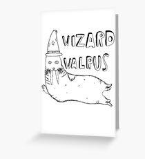 Wizard Walrus (black) Greeting Card
