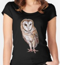 Barn owl drawing Women's Fitted Scoop T-Shirt