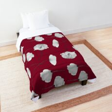Small poppies pattern on burgundy red  Comforter