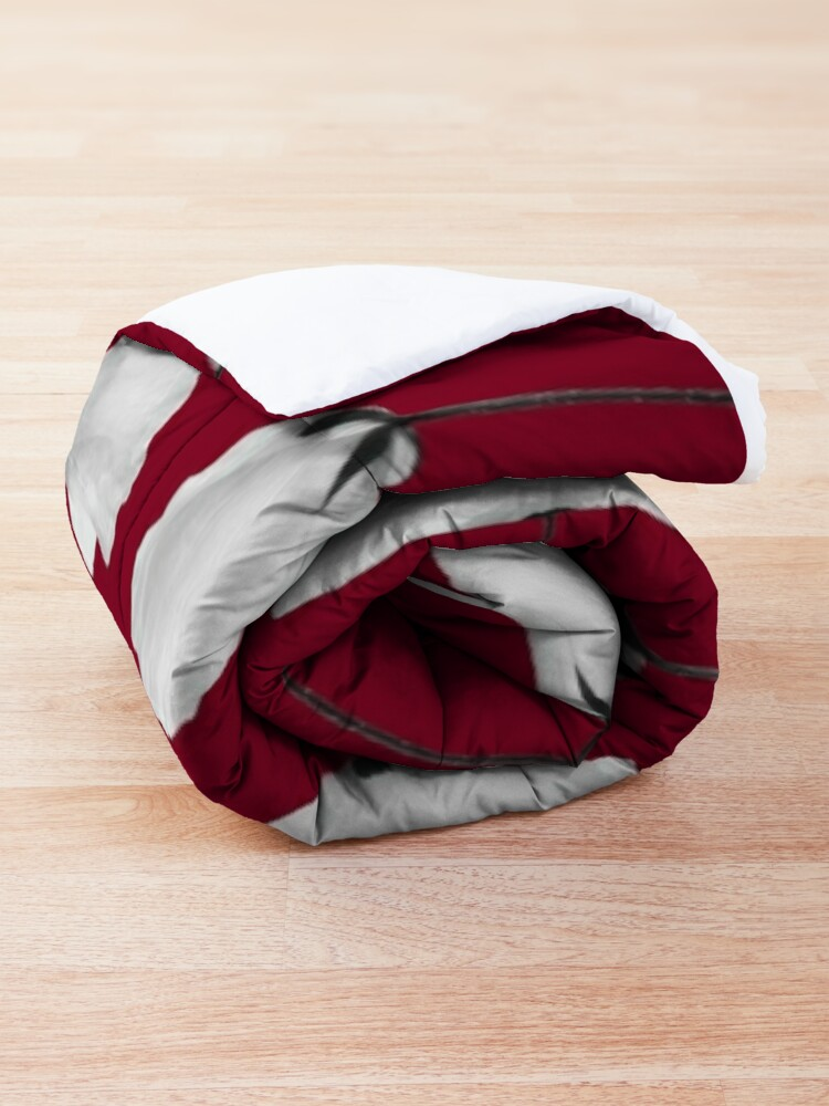 Alternate view of Small poppies pattern on burgundy red  Comforter