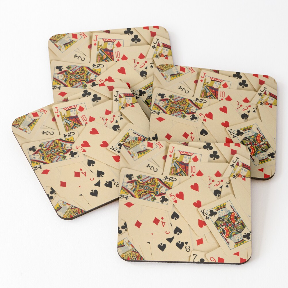 Scattered Pack of Playing Cards Hearts Clubs Diamonds Spades Pattern Coasters (Set of 4)