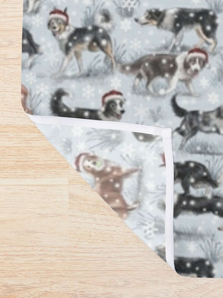 Alternate view of The Christmas Border Collie Shower Curtain