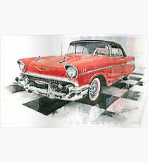 Red Chevrolet 1957 Poster