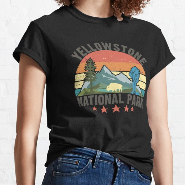 Yellowstone National Park Wyoming mountains landscape volcano geyser Classic T-Shirt