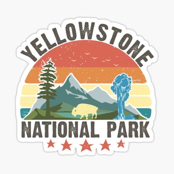 Yellowstone National Park Wyoming mountains landscape volcano geyser Sticker