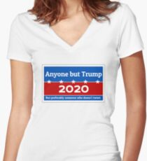 Anyone but Trump 2020 Fitted V-Neck T-Shirt