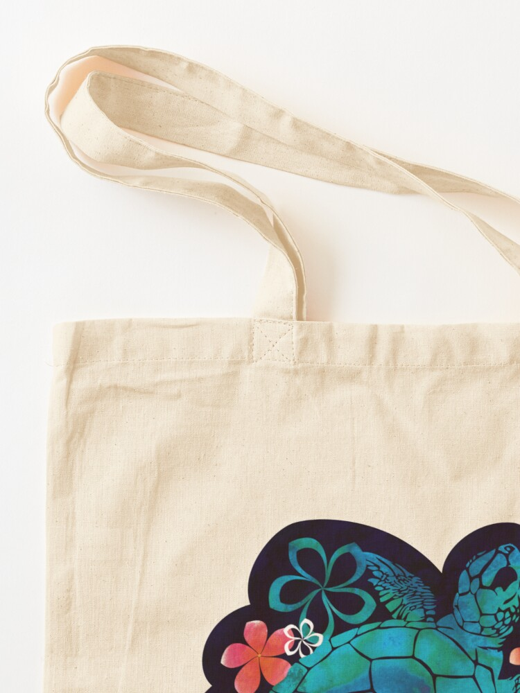 Alternate view of Sea Turtle with Flowers Tote Bag
