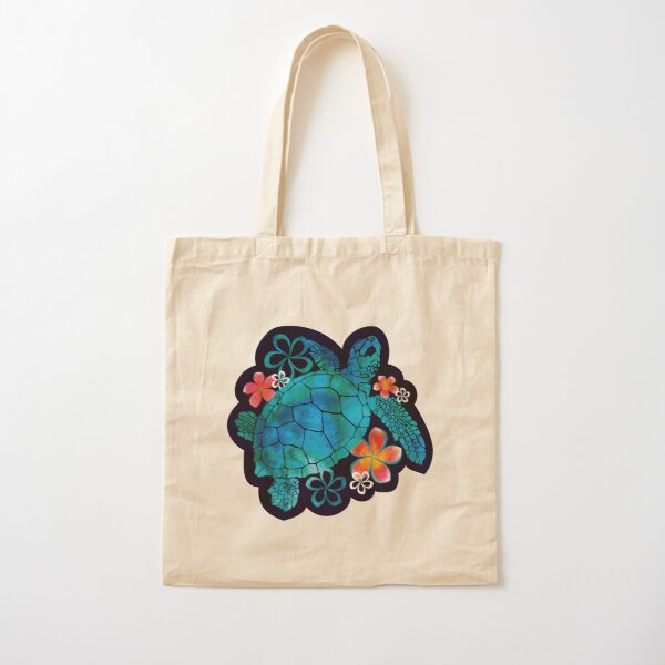 Sea Turtle with Flowers Cotton Tote Bag