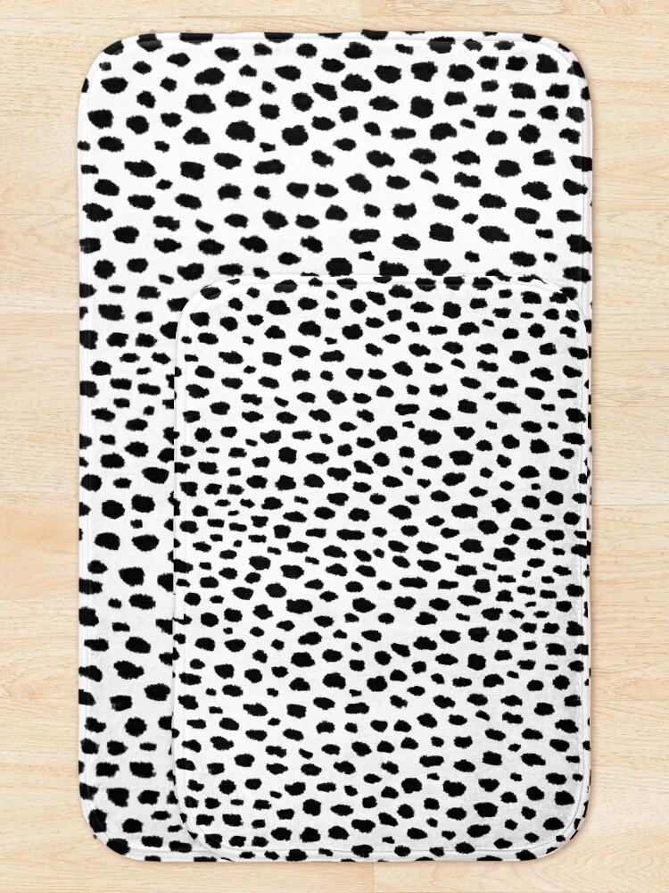 Alternate view of Dalmatian Spots (black/white) Bath Mat