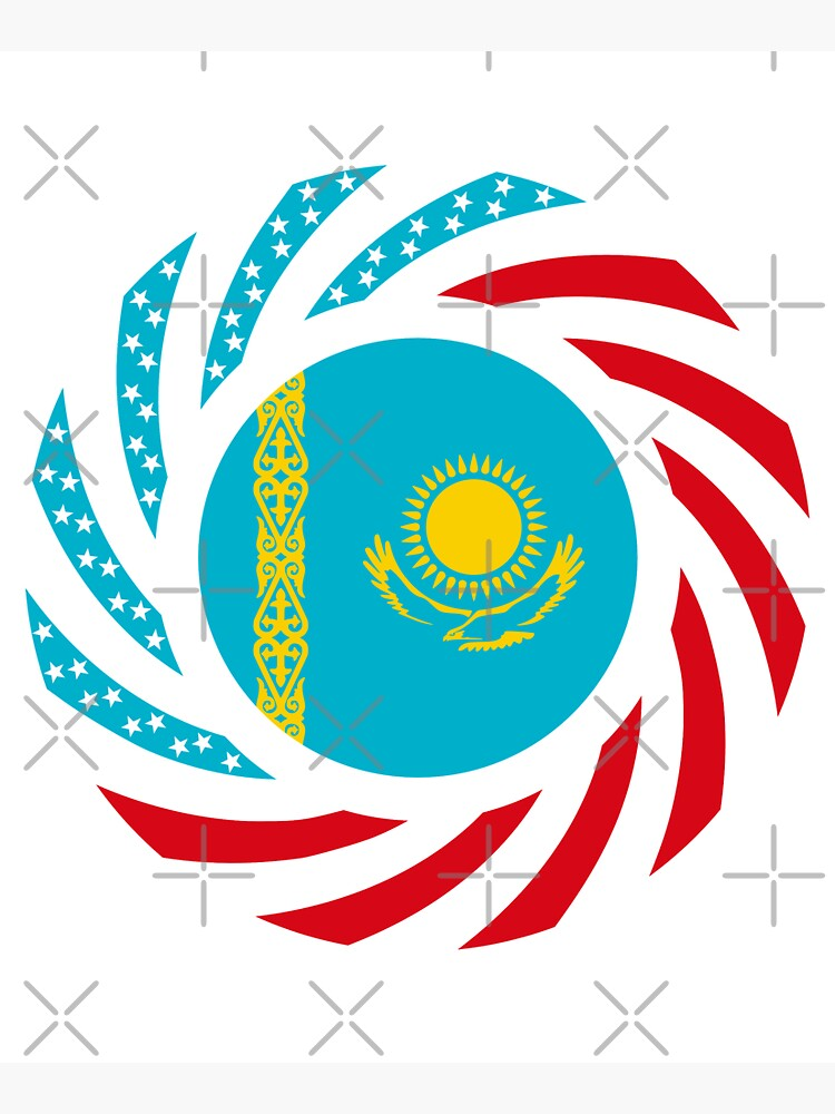 Kazakhstani American Multinational Patriot Flag Series by carbonfibreme