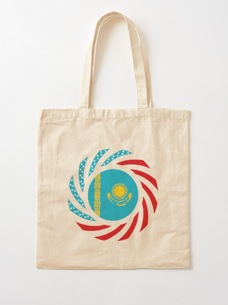 Alternate view of Kazakhstani American Multinational Patriot Flag Series Tote Bag