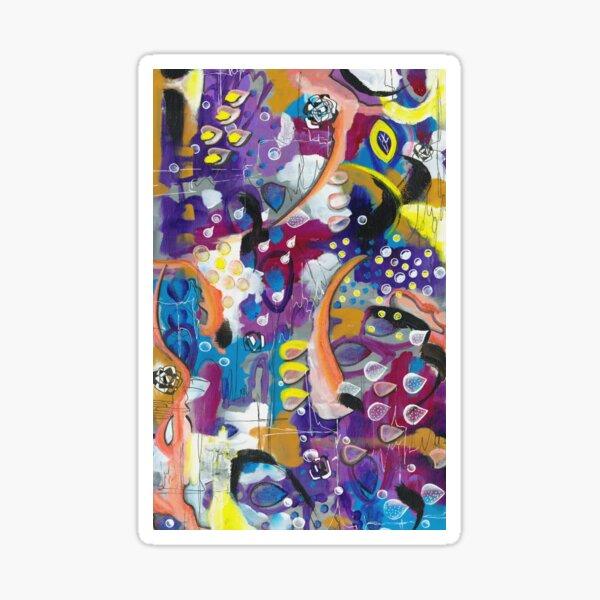 Magenta, purple, orange, blue and yellow mixed media abstract design Sticker