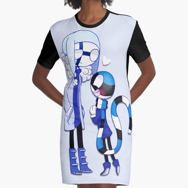 Countryhumans Finland x Estonia Graphic T-Shirt Dress