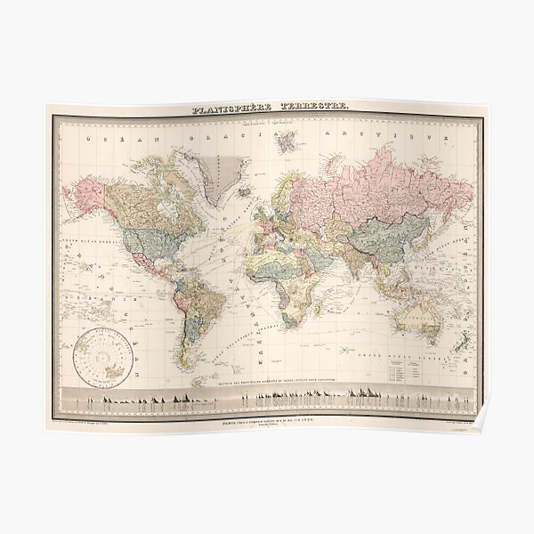 Vintage Colorful Historical Rainbow World Map Boho Poster