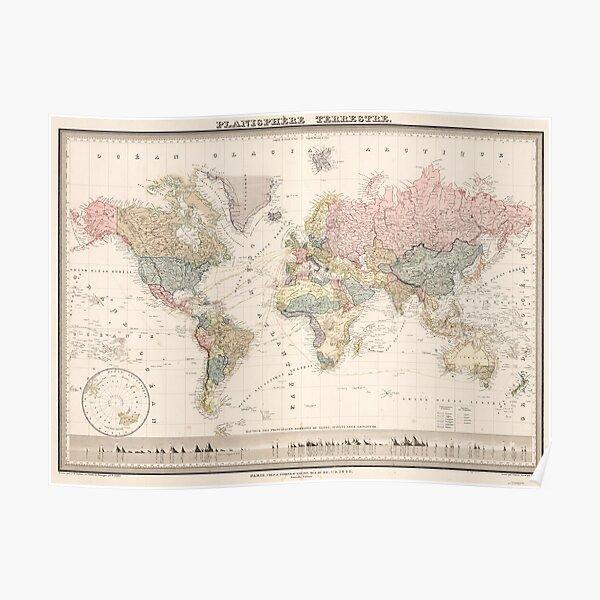 Vintage Colorful Historical Rainbow World Map Boho Poster