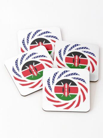 Kenyan American Multinational Patriot Flag Series Coasters
