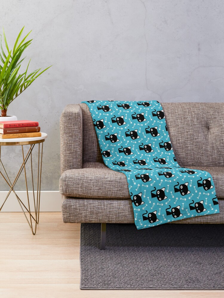 Alternate view of Cute black cats and fish bones Throw Blanket