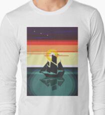 The Black Vector   Pirate Ship Long Sleeve T-Shirt