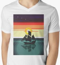 The Black Vector | Pirate Ship Men's V-Neck T-Shirt