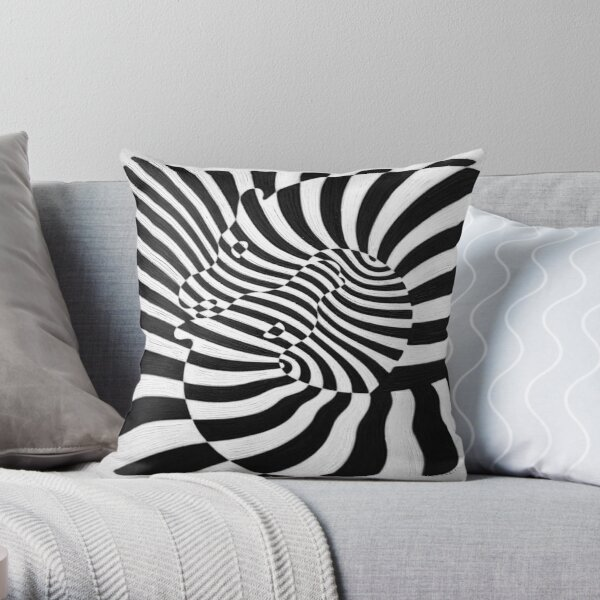 Zebras by Victor Vasarely Throw Pillow