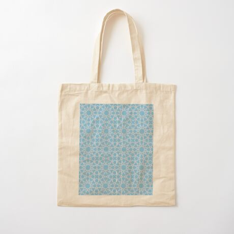 Islamic Geometric pattern 002 Blue Background Cotton Tote Bag