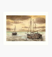 VLAARDINGEN HOLLAND ABOUT 1875 - NUMBER 2 - AQUAREL Art Print