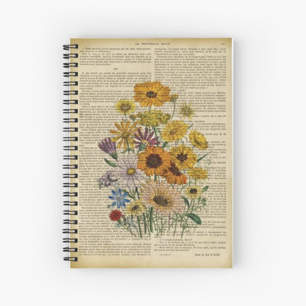 Botanical print, on old book page - Garden flowers Spiral Notebook