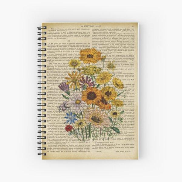 Imprimé botanique, sur une ancienne page de livre - Fleurs du jardin Cahier à spirale