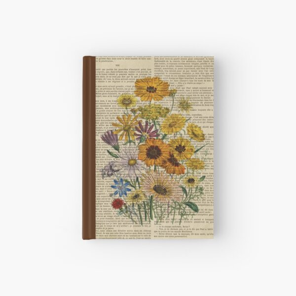 Botanical print, on old book page - Garden flowers Hardcover Journal