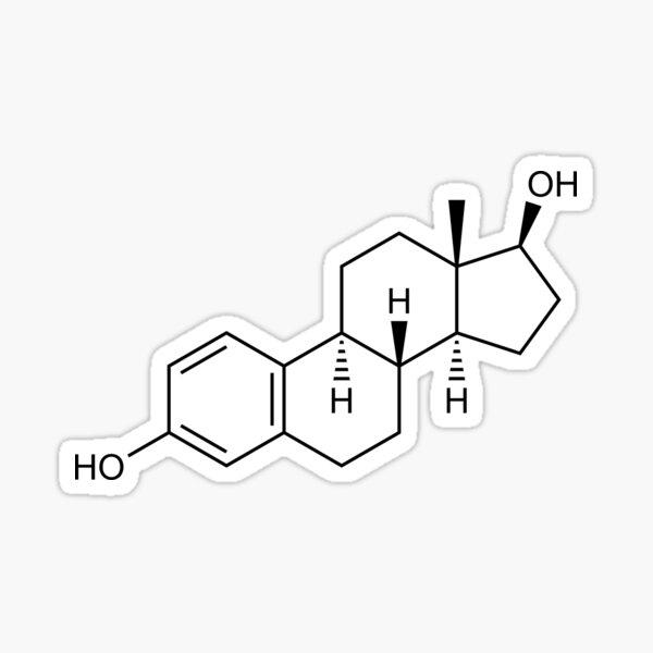 Estradiol (Estrogen) Structural Formula Sticker