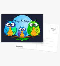 Happy birthday card with owls Postcards