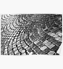 Cobblestone pavement after rain Poster