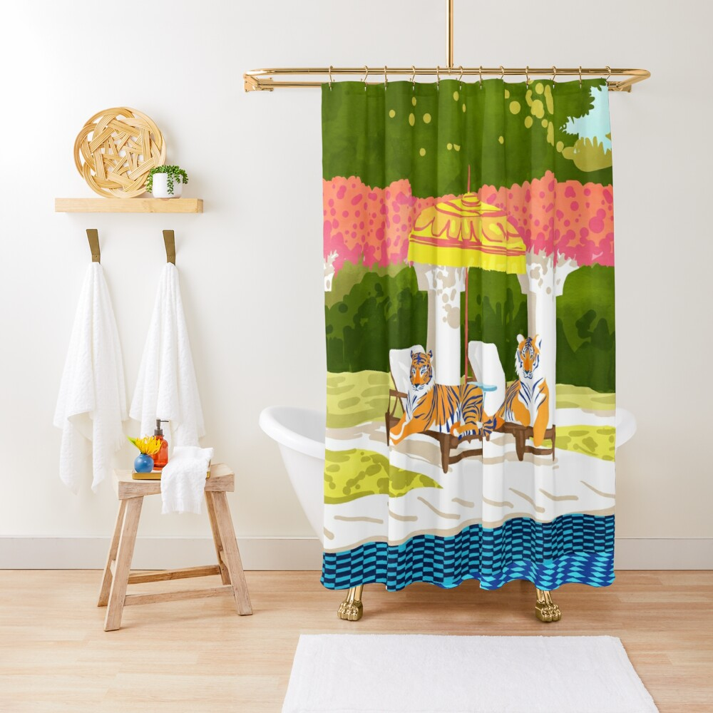 Tiger Vacay #illustration #wildlife #painting Shower Curtain