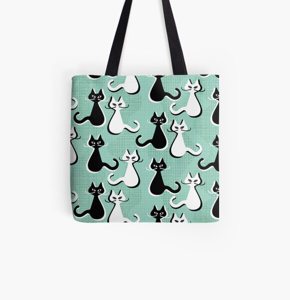 Mid century Cats with moustaches  All Over Print Tote Bag