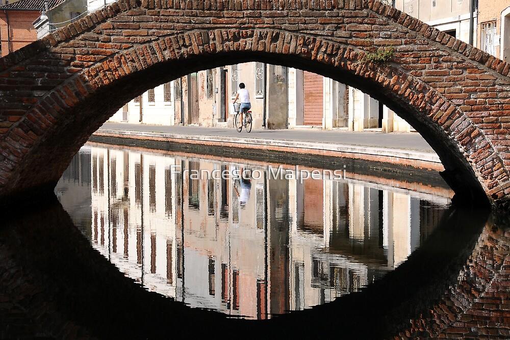 bridge reflections houses bycicle by Francesco Malpensi