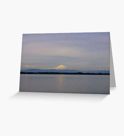 late afternoon mt baker over drayton harbor Greeting Card