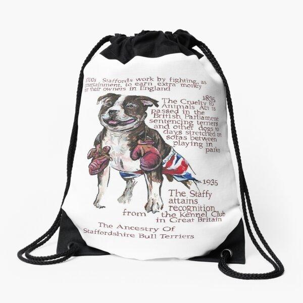 Staffordshire Bull Terrier History Drawstring Bag