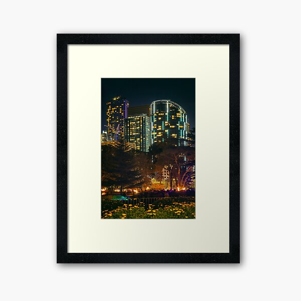 Futuristic Melbourne City at Night Framed Art Print