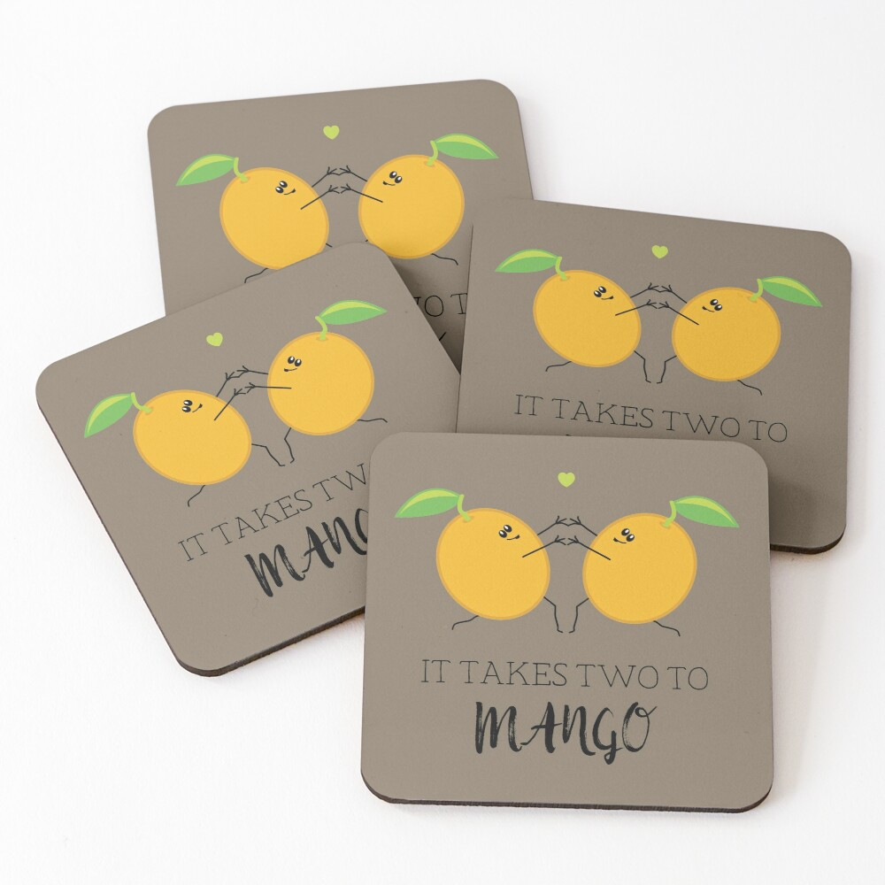 It Takes Two to Mango Tango Cute Fruit Food Pun Graphic Coasters (Set of 4)
