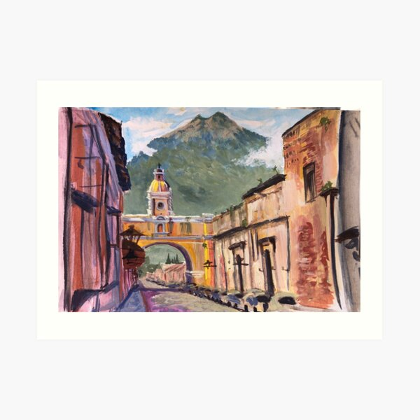 Santa Catalina Arch and Volcano in Antigua Art Print