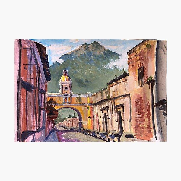 Santa Catalina Arch and Volcano in Antigua Photographic Print
