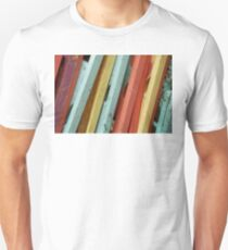 Happy Colorful Chairs Stacked on a Porch Unisex T-Shirt