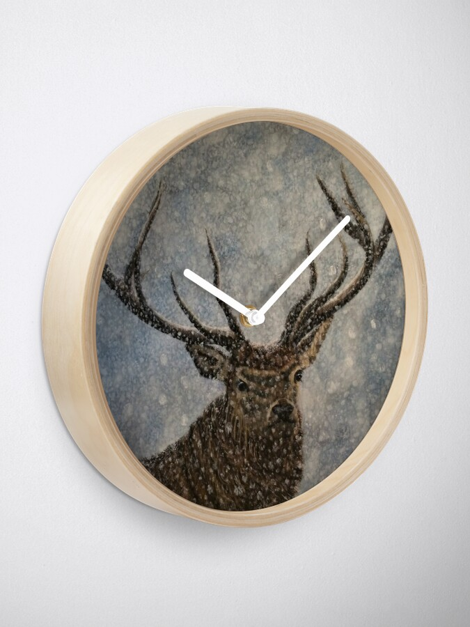 Alternate view of Not Afraid of the Snow - Stag in Snow - Clock Clock