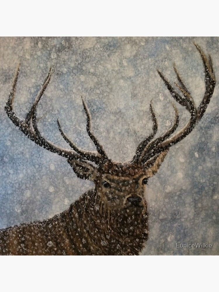 Not Afraid of the Snow - Stag in Snow - Clock by EuniceWilkie