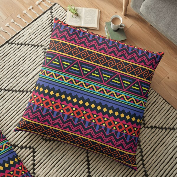Neon Tribal Floor Pillow